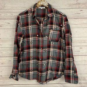 Elizabeth and James plaid flannel beaded shirt